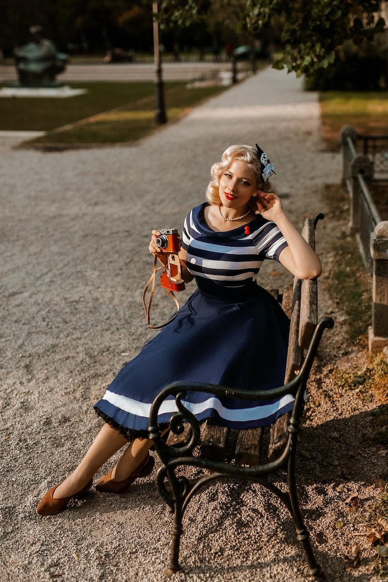 Pin Up Dresses | Pinup Clothing & Fashion Darlene Nautical Navy & White Striped Swing Dress $57.67 AT vintagedancer.com