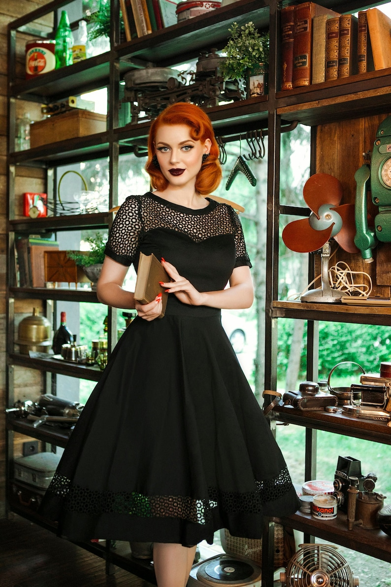 1950s Style Clothing & Fashion Black Lace Formal Dress with Sleeves $79.69 AT vintagedancer.com