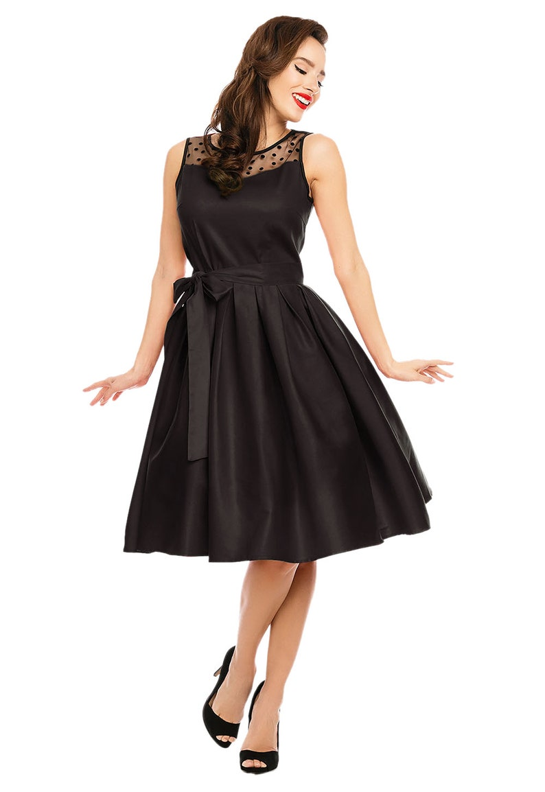 1950s Style Clothing & Fashion Elizabeth Vintage Style Swing Party Dress in Black $57.95 AT vintagedancer.com