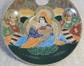 Vintage Japanese Satsuma Fine China Moriage Saucer With Immortals