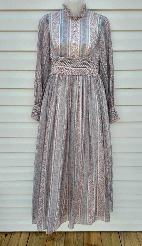 Vintage 1960s Prairie Dress, Maxi Dress, Smocked,