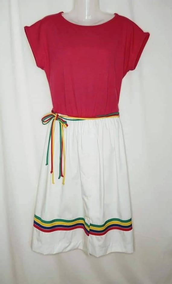 Vintage 1970s Toni Todd Dress, Rainbow, pride