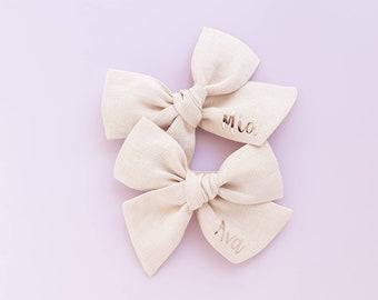 Tan Girls Hair Bow Beige Linen Hair Bow w Lace Infant Headband Toddler Bow Baby Headband Vintage Headband Taupe Rustic Wedding Bow
