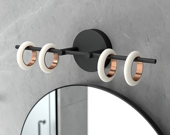 Glow's Avenue 4-Light Dimmable Loop Ring Vanity Light Fixture Matte Black Bathroom Mirror Wall Décor LED Vanity Lighting Fixture 24W