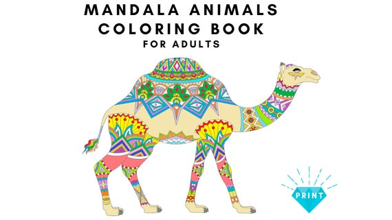 Mandala Animals Coloring Book For Adults Coloring Pages For Etsy