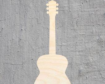 Acoustic Guitar Cutout Unfinished Wood Door Hanger MDF Shape Canvas Style 1