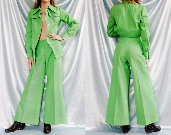 70s Two Piece Green Pants set // Flare trousers Hi
