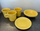 Nice YELLOW Fiestaware Mugs Small Bowls and Plate Sunflower Homer Laughlin Dishes Set of 6 Pieces