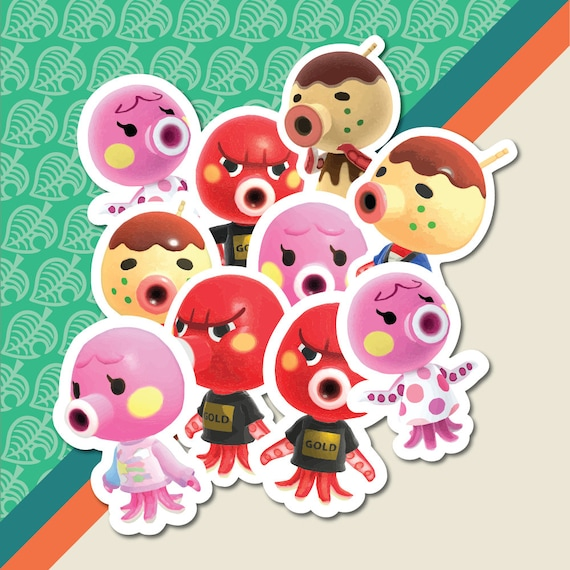 Zucker Animal Crossing inspired Octopus Villager 4\u201d iron-on patch