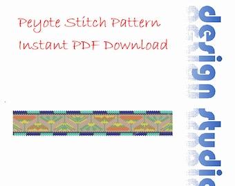 Lotus Bangle Tubular Peyote Bead Pattern, Bracelet Bangle Cuff Bookmark,  Beading Pattern, Miyuki Delica Tube Beads, PDF Instant Download