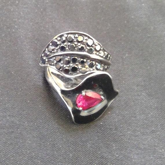 Ruby ,Jet & Enamel silver ring - image 6