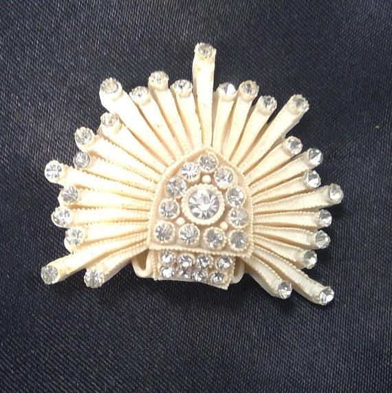 Art Deco celluloid and rhinestone brooch