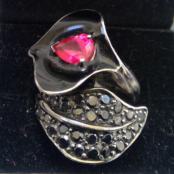 Ruby ,Jet & Enamel silver ring - image 1