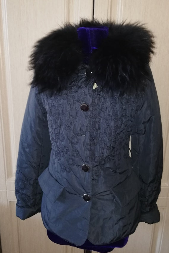 Vintage blue fur collar jacket