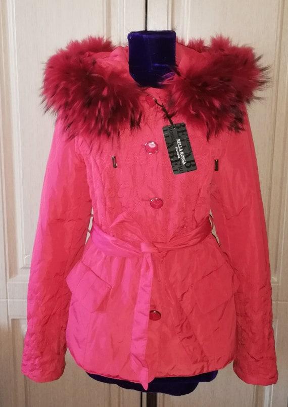 Vintage red hooded jacket with raccoon fur