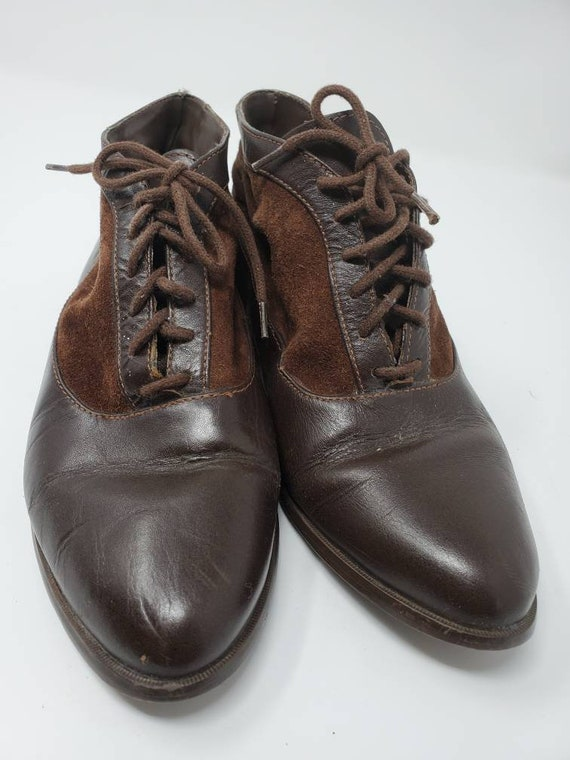 Vintage 80s Apache Leather + Suede Ankle Lace Up B