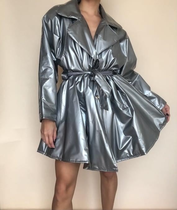Metallic Silver Rain Coat