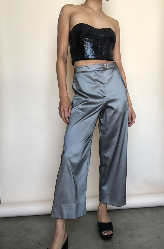Metallic Silver Pants