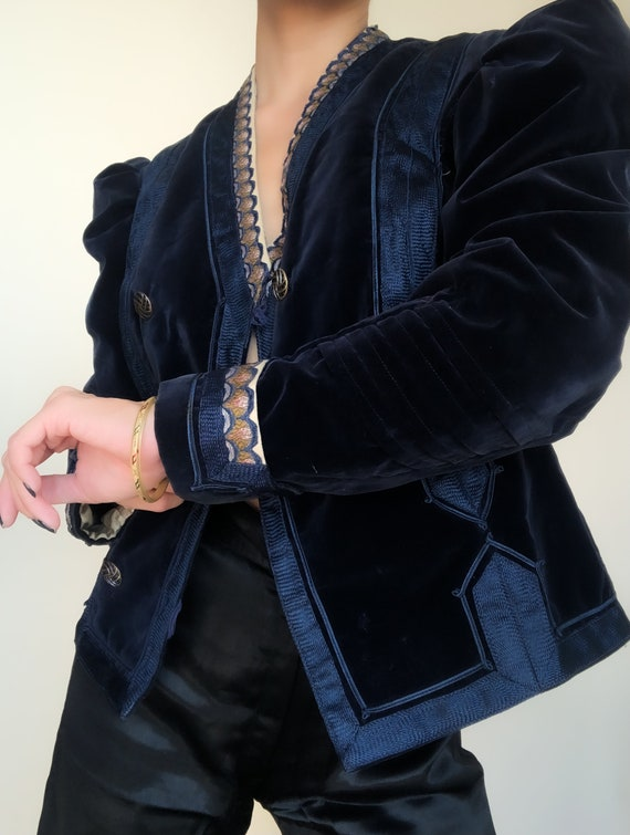 Velvet Puff Sleeve Jacket