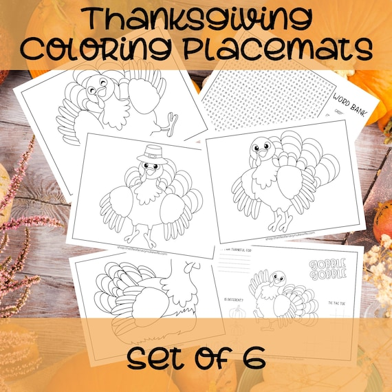 Thanksgiving Coloring Pages Placemats for Kids. Printable