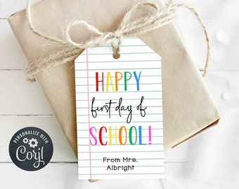 Back to School Gift Tag Template, Printable Rainbow First Day of School Favor Tag, Editable Teacher Classroom School Tag Instant Download