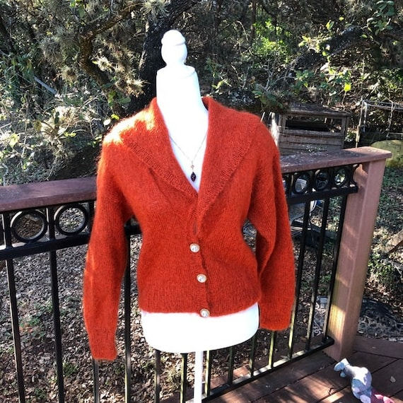 Vintage Hand Knitted Burnt Orange Mohair Sweater S