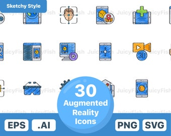 Augmented Reality Icons Vector Icons Instant Download Etsy