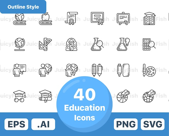 Education Icons Vector Icons Instant Download Website Etsy