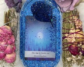 Handmade Tarot Card resin tray - Take Time To Breathe Out - Disseminating Moon - Resin Art - Resin Jewelry Tray - Tarot Card Jewelry Dish