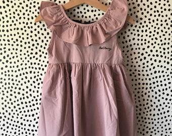 Mirabelle strawberry print peach mini dress with statement frill neck