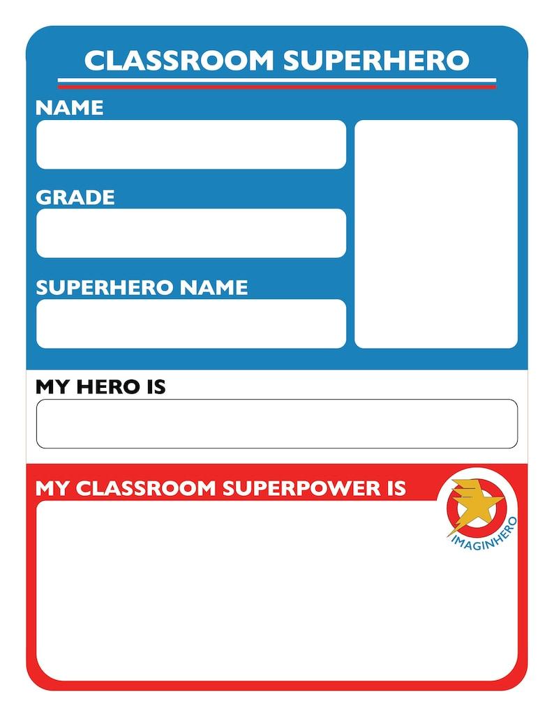 Classroom Superhero Worksheet image 0