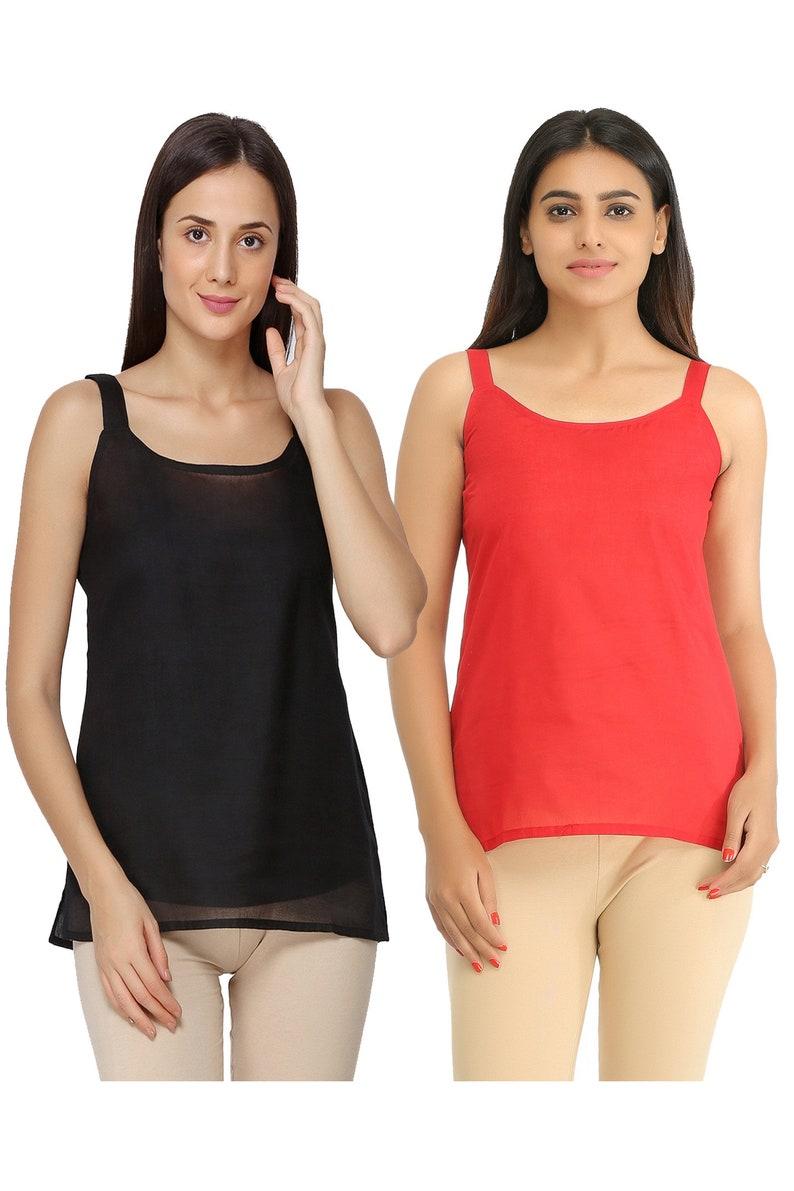 Camisole slips Ada Handmade Embroidered White and Black Cotton Short Slips Combo of 2 Black combo inner for womens