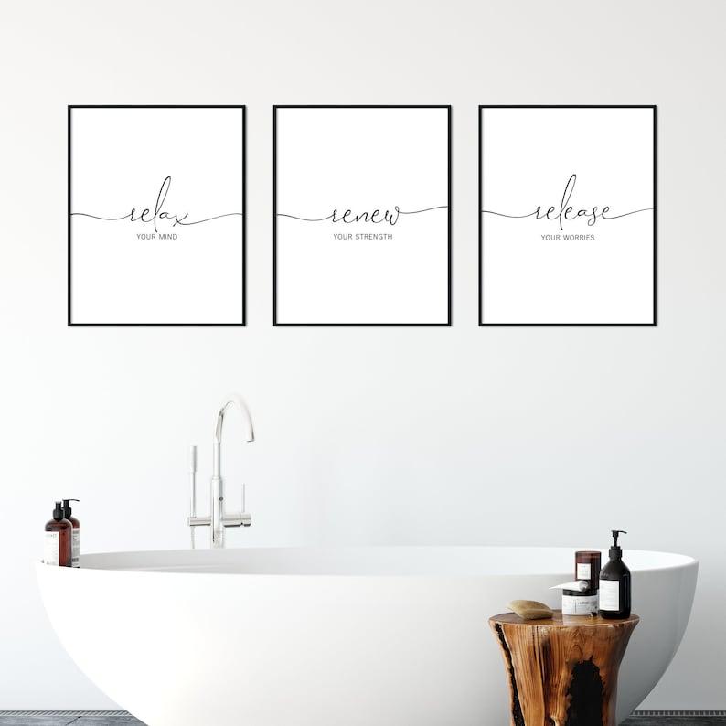 Bathroom Wall Art Set Of 3 Bathroom Prints Bath Tub Art Etsy