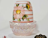 Mosser Glass Glimmer Light Fairy Lamp hand painted pink stripes and flowers pink carnival glass base.
