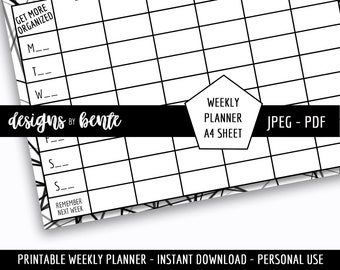 Printable Weekly Planner - A4 sheet - Instant Download - PDF, JPG - Flexible Use - Office, Personal, Home, Business, Activities