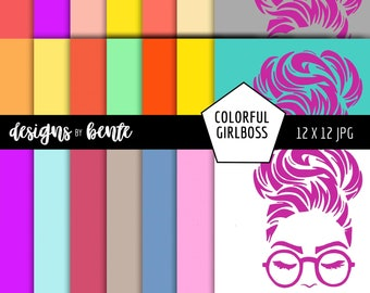 21 COLORFUL GIRLBOSS Digital Paper, Colorful Pattern, Backgrounds, Paper, Scrapbooking Paper, Textures, Commercial Use, Instant Download