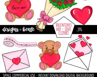 Valentines Day Love Clipart, Roses, Love Me Bear, Hearts, Envelope, Clipart for Cards, Stickers and more, Commercial Use, Instant Download
