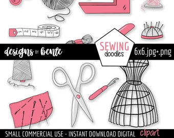13 SEWING DOODLES Clipart, Peach and Black Doodles, Clipart to use for designing, Cards, Stickers, Commercial Use, Instant Download