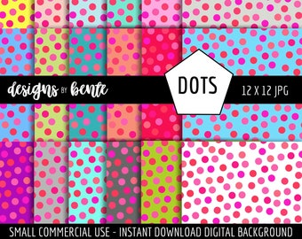 18 COLORFUL DOTS Digital Paper, Colorful Pattern, Backgrounds, Paper, Scrapbooking Paper, Textures, Commercial Use, Instant Download