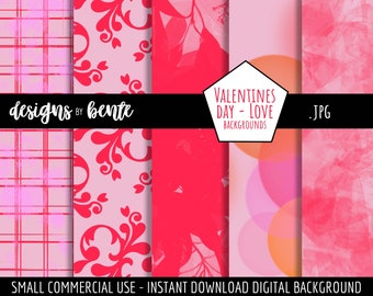 Valentines Day Love Backgrounds, Pink and Red Backgrounds, Paper, Scrapbook, Textures, Commercial Use, Instant Download