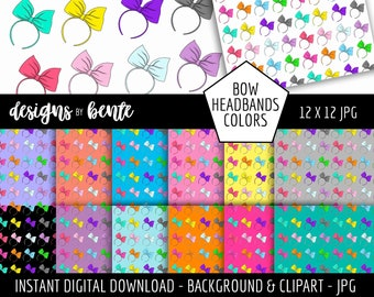 12 COLORFUL BOW HEADBANDS Clipart, 13 bow backgrounds, Use for designing Invitations, Cards, Stickers, Commercial Use, Instant Download