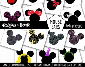 14 COLORFUL MOUSE EARS Clipart, Colorful Ears, Clipart to use for designing Invitations, Cards, Stickers, Commercial Use, Instant Download