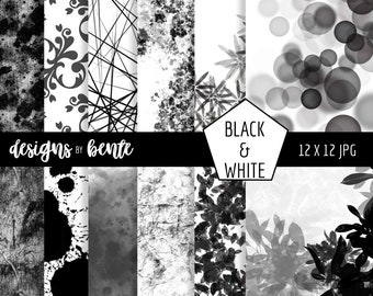 12 Black and White Digital Paper, Black White Pattern, Black White Backgrounds, Paper, Scrapbook, Textures, Commercial Use, Instant Download