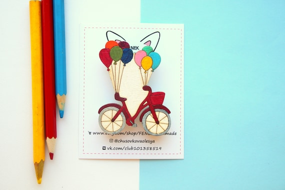 Bicycle wooden brooch / Wood pin with balloons / Gift for Her / Brooch and badge