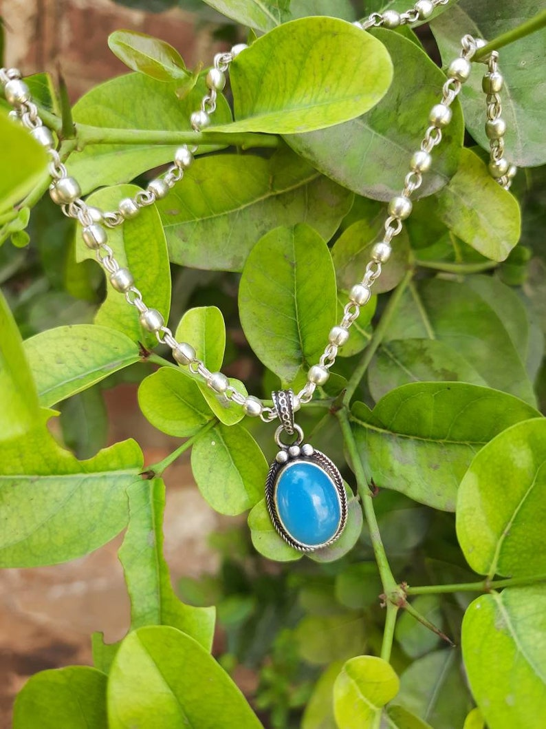 Beautiful and Top Quality Boho stone Silver Necklace beautiful necklace with silver chain 925-Sterling Silver Necklace Wedding Gift Item