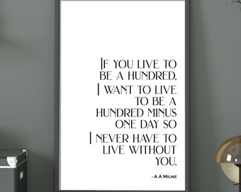 If You Live To Be A Hundred | Digital Download | Inspirational Print | Winnie-the-Pooh Quote | A A Milne