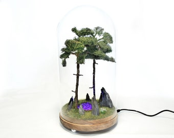 Forest diorama Lamp with luminous Portal in glass dome / Mythical stone circle, purple light vortex miniature / 12V DC plug included!