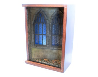 Church booknook diorama with light / Cathedral windows alley miniature / Home décor wall hanging or nook for bookshelf for mystery lovers