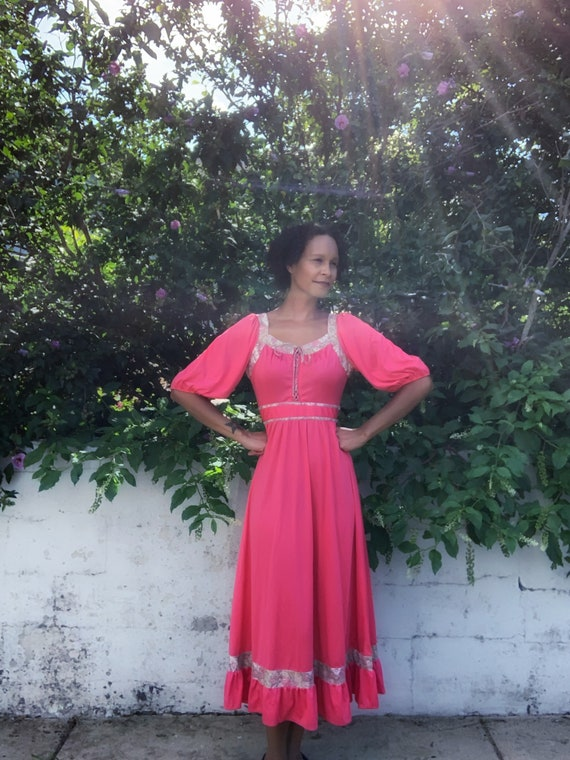 70s Jody T of California coral and floral maxi dre