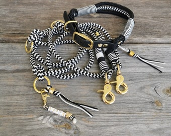 Leash set 10 mm dew, dog leash, guide line, 3-fold adjustable, collar, Biothane collar, PPM rope, name chain, customizable